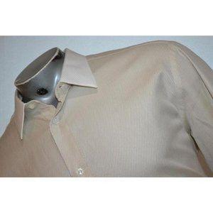 13177 Mens BRIONI Dress Shirt Tan White Twill XL